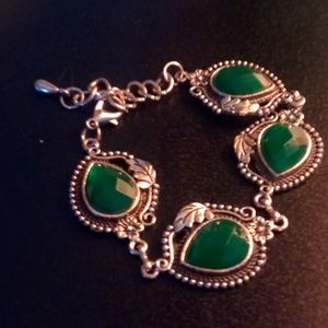 Silver and emerald green bracelet